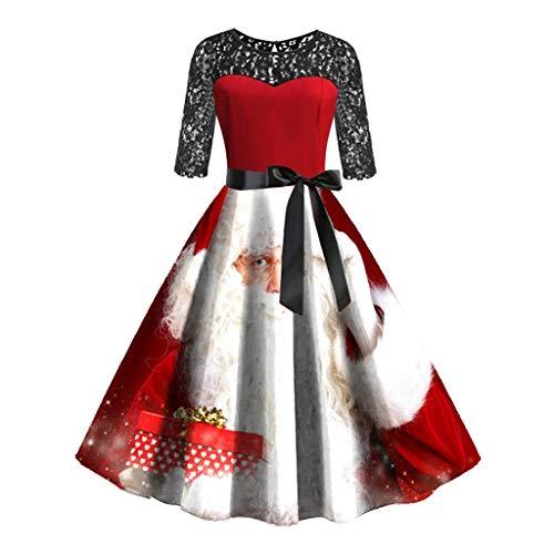 Auifor Vrouwen Vintage Halve Hulsen-Kerstpunt Fächzigerjaren huisvrouw-avond-partij-proms, jurk
