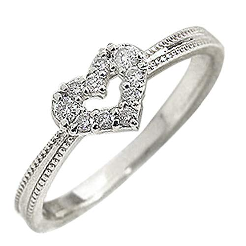[ジュエリーアイ] ピンキーリング ハート ダイヤモンド リング ダイヤリング ハートの指輪 プラチナリング プラチナ900 Pt900 11.5号
