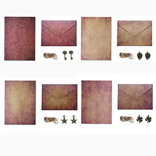 Vintage Papier Briefpapier, Schreiben Brief Papier Set, Vintage Schreibwaren Sets, Vintage Briefpapier Umschläge, 16 Stück Briefpapier+8 Stück Briefumschlag, für Briefe,Geschenke,Liebesbrief