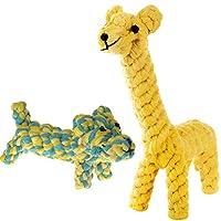 SunGrowによる2つのコットンロープノットドッグのおもちゃ-耐久性と手織り-ギャビーのダイナミックなデュオキリンとデイジー犬-柔らかく、無毒な噛むアイテム:健康な歯と歯茎の維持に役立ちます