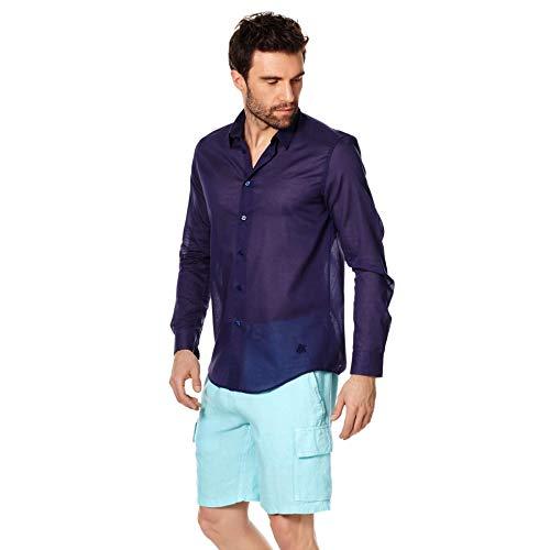 Vilebrequin Unisex Linen Voile Light Shirt Solid - Midnight Blue - XL