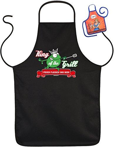 Art & Detail Shirt Lustige Sprüche Fun Schürze King of The Grill Feuer Fleisch Bier - Grill-Schutz mit Mini-Schürze