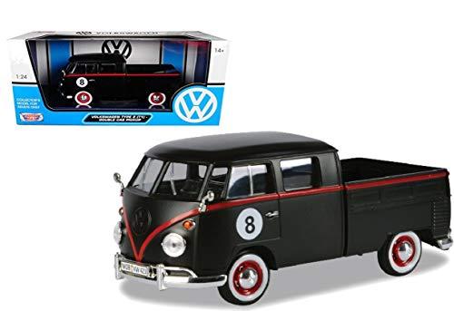 VW T1 Bus Pritsche Eightball #8 matt schwarz, Modellauto 1:24 / Motormax