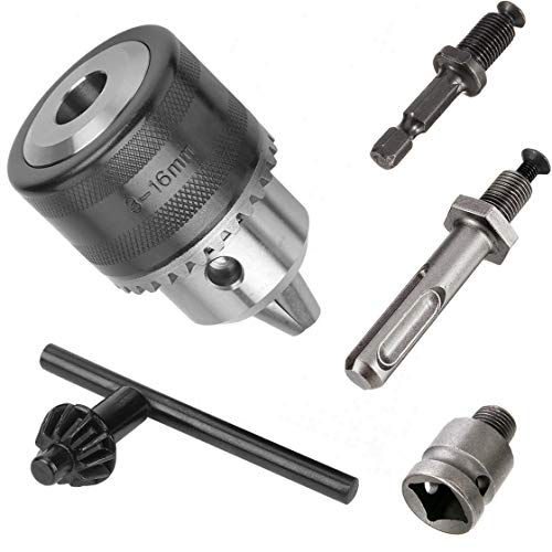 Hymnorq 1/2-20UNF Keyed Drill Chuck 3-16mm Clamping Range with SDS-plus Shank, 1/2 Socket Square Converter and 1/4 Inch Hex Shank, Fit Impact Driver Hammer, Electric Wrench and Air Screwdriver