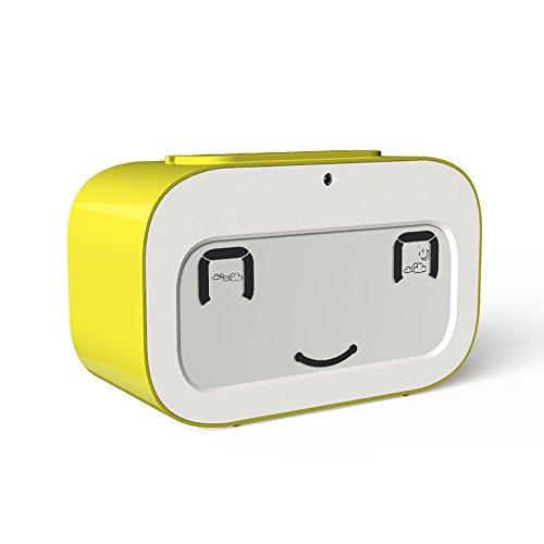 Emoji Réveil Silencieux avec Rétro-éclairage, Cuitan Temps Date Température Compte à Rebours Snooze Fonction Digital Alarme Wake up Horloge de Chevet Alarm Clock pour Enfants, Famille - Jaune
