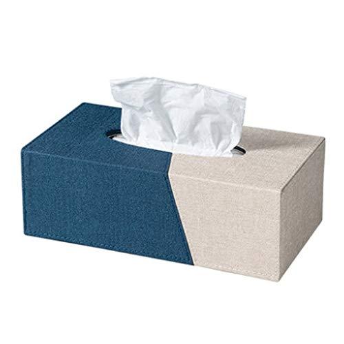 Dabeigouzzhijh Caja de pañuelos, La Caja de Tejidos es Simple, con Estilo y Contraste de Color, hogar Creativo, Sala de Estar y Tejido de Oficina (Color: Royal Blue + Beige, Tamaño: 25.5x13.8x8.8cm)