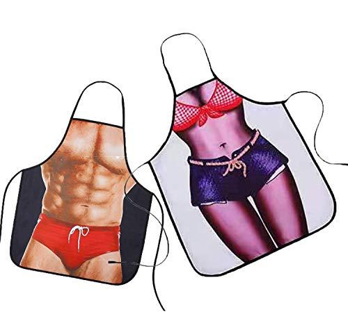 Hong, delantal de cocina, delantal masculino, dos piezas 3D, hombre musculoso + delantal femenino sexy, regalos de barbacoa sexy para hombres y mujeres (2 delantales divertidos)