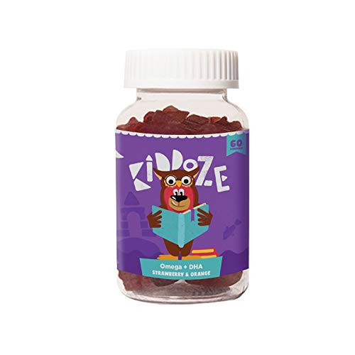 Kiddoze Omega & DHA Gummies | Promotes Brain Health, Improves Eye Health, Improves Concentration & Builds Immunity - 60 Pieces ( Delicious Strawberry and Orange Flavour)