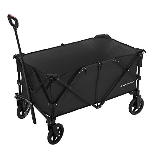 SONGMICS Folding wagon, Aluminium , Capacity 150 kg, Portable Garden Cart with 4...