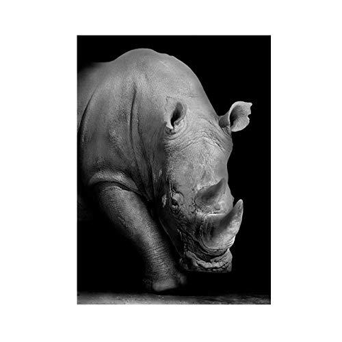 JHGJHK Pintura al leo del Arte Animal de la proteccin del Rinoceronte, impresin del Cartel, Pintura al leo Decorativa para la Sala de Estar y el Dormitorio