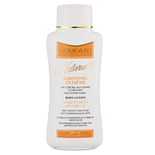 Makari Naturalle Carotonic Extreme BODY Lotion 17.6oz – Toning & Moisturizing Body Cream With Carrot Oil & SPF 15 – Anti-Aging & Whitening Treatment for Dark Spots, Acne Scars & Wrinkles
