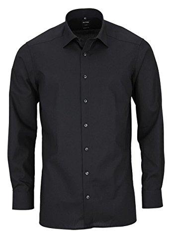 OLYMP Slim Hemd Langarm Long Kent Kragen [Textilien],schwarz, XXL (46) , - 46