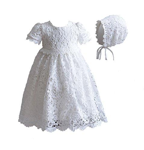 Cinda Baby Spitze Taufkleid mit Mütze Elfenbein 62-68