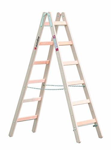 Spetebo - Escalera de tijera (madera, 3 peldaños, con gancho)
