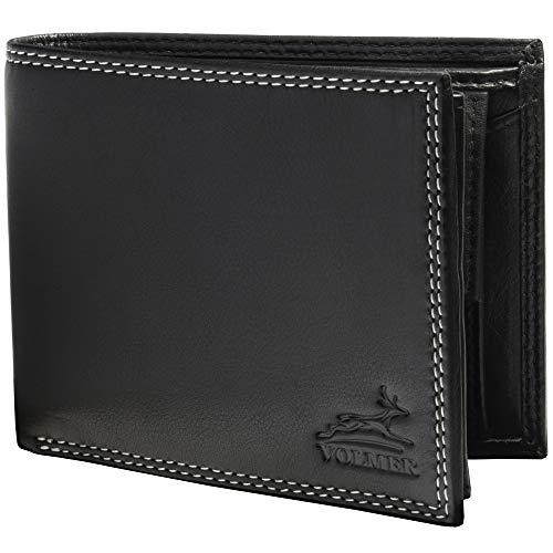 Fa.Volmer ® Schwarze Voll-Leder Geldbörse Herren in Querformat mit RFID-Schutz Typ #VO6Bl