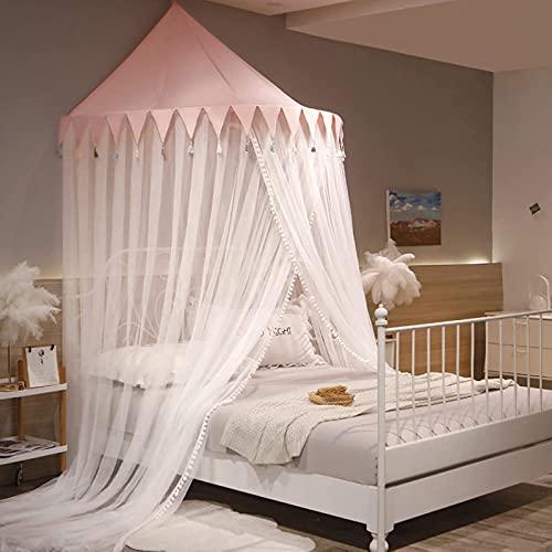 Mosquitera montada en la pared, cortinas de cama con dosel para camas individuales a king size, cobertura de la redeña de yurt infantil cuna para niños de tiendas de tiendas de net-protege a s