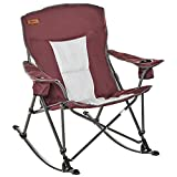 Outsunny Camping Folding Chair Portable Rocking Chair w/Armrest & Cup Holder Compact and Sturdy in a Bag for Outdoor, Beach, Picnic, Hiking, Travel, Wine Red