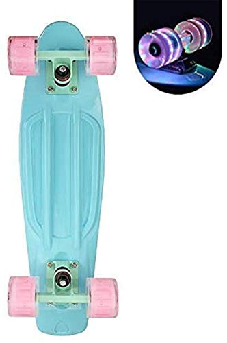 Cruiser Skateboard for Girls with LED Light Up Wheels Cool Completed Skate Board 22 inch for Kids Teens Beginners Standard Skateboard with Carrying Bag