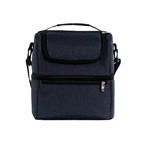 AAGOOD Lunch Bag Oxford Isolierte Bento Tasche Leakproof Prep Mahlzeit Halter Double Layer Picknick Kühltasche Blau Familie Wichtiger Versorgungs