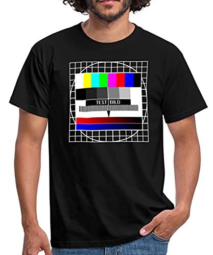 Analoges Fernsehtestbild TV Testbild Männer T-Shirt, XL, Schwarz