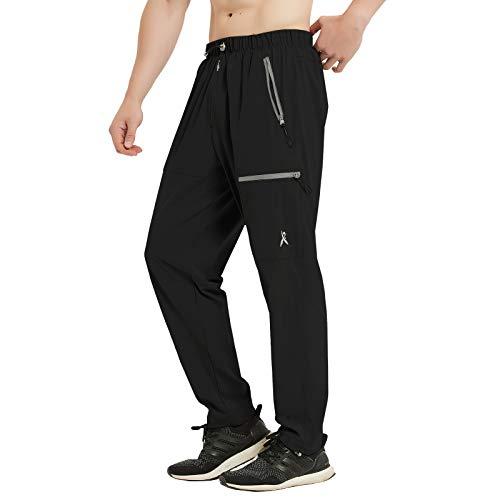 PRIESSEI Men's Pants Outdoor Elastic-Waist Lightweight Cargo Pants Quick Dry Black S