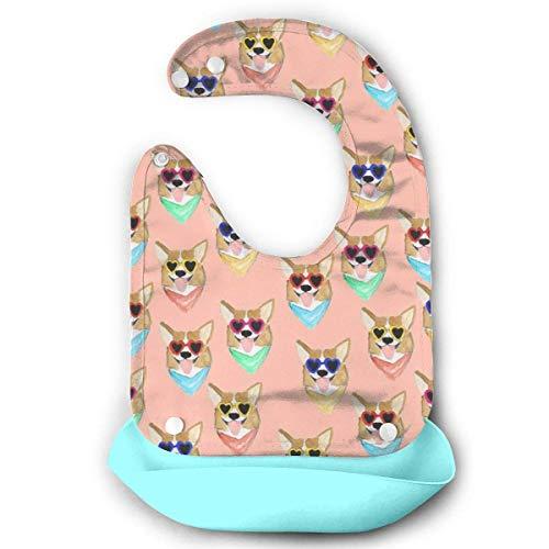 Bavoir en silicone imperméable pour bébé avec poche Motif Love Sunglasses
