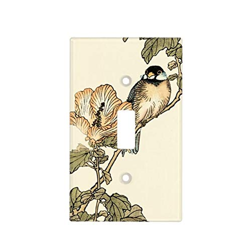 1-Gang Wall Plate Cover, Single Toggle Switch Cover Oriental Bird Perched On Branch Classic Beadboard Unbreakable Faceplate