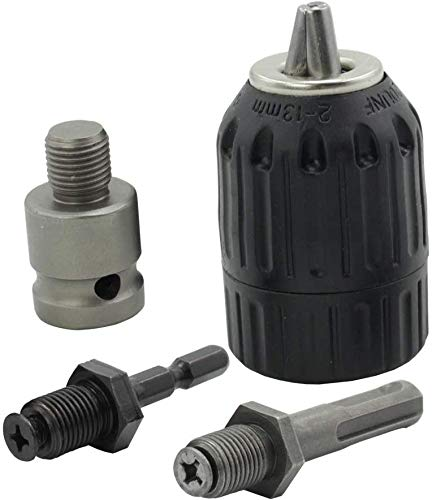 2-13mm Professional Heavy Duty Keyless Drill Chuck Converter, 1/2'- 20UNF Thread Quick Change Adapter with SDS-Plus Shank 1/4' Hex Shank 1/2 inch Socket Square Female Adapter (JT-13A)