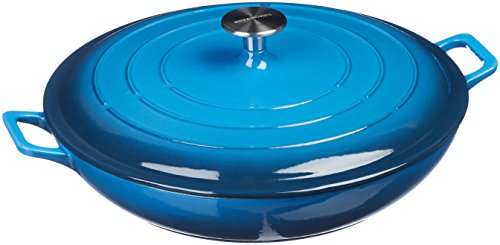Amazon Basics Enameled Cast Iron Covered Casserole Skillet, 3.3-Quart, Blue