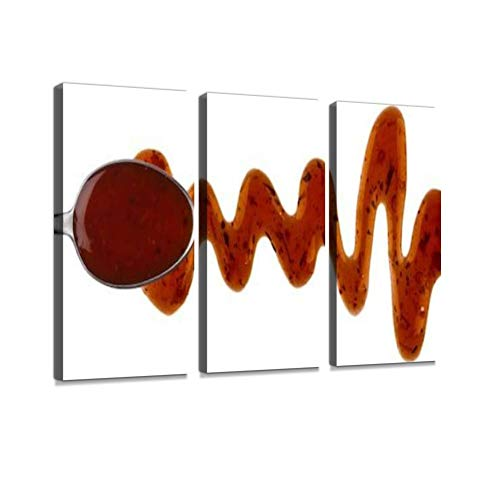 HABEN ARTWORK Teriyaki Sauce with Spoon Isolated on White Background with Clipping Print On Canvas Wall Artwork Modern Photography Home Decor Unique Pattern Stretched and Framed 3 Piece