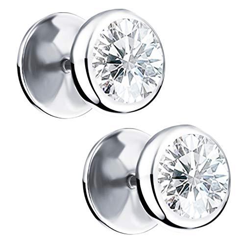 Ditz - Pendientes de titanio con circonita cúbica, placa para atornillar, falso dilatador, para mujer, hombre, pendientes dobles, redondos, simples de plata, 10 mm