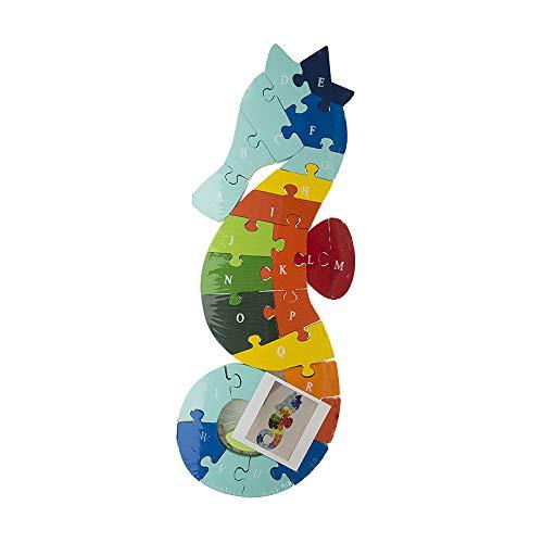 Byoeko Puzzle Figuras de Madera con numeros y abecedario (Caballito de mar)