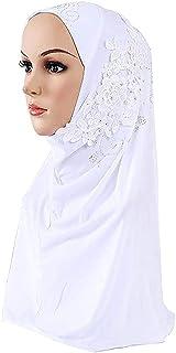 Women Floral Chiffon Hijab Scarf Muslim Hijab Cap Long Scarf Wrap Scarves Islamic Full Cover Head Scarf Pearl Lace Flower ...