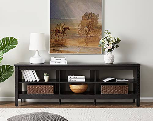 WAMPAT TV Stand for 75 inch TV Wood Media Console Cabinet with Storage Entertainment Center for Living Room and Bedroom, Black, 70''