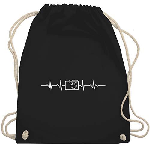 Shirtracer Symbole - Herzschlag Foto Kamera - Unisize - Schwarz - turnbeutel kamera - WM110 - Turnbeutel und Stoffbeutel aus Baumwolle