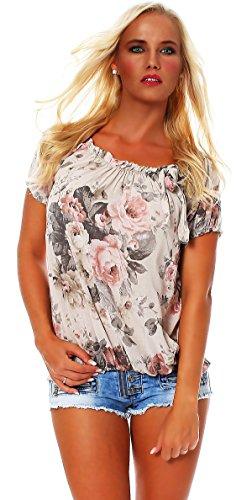 ZARMEXX Damen Bluse Oberteil Shirt Blumenmuster Carmenbluse Kurzarmshirt Viskose *BIG ROSE*, One Size Gr.36-40, Beige