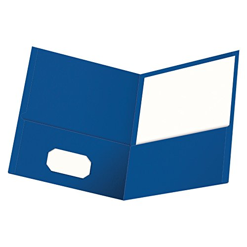 Oxford Twin-Pocket Folders, Textured Paper, Letter Size, Royal Blue, Holds 100 Sheets, Box of 25 (57512EE)
