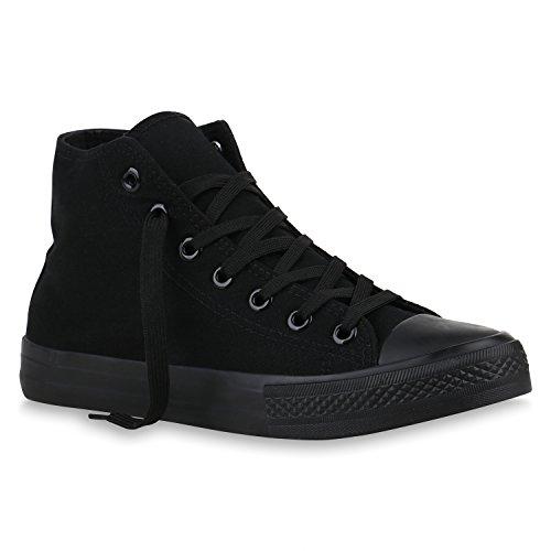 stiefelparadies Herren Schuhe Sneaker High Basic Schnürschuhe Turnschuhe Freizeit Schuhe 155406 Schwarz Camiri 44 Flandell