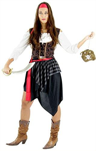 Piraten Kostüm für Damen Fasching Piratin Rock Piratenbraut Frauen Karneval Fasching Größe L