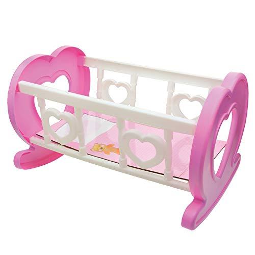 Puppenbett Puppenzubehör Babybett Bettchen Wiege Puppen Babypuppen Zubehör Spielzeug Kinder Mädchen 21x33cm 30cm Spielzeugpuppe Vinylpuppe Weichkörperpuppe Rollenspiel rosa weiß einfach leicht Puppe