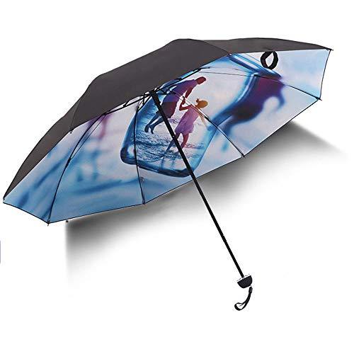 Big seller Regenschirme UV-Schutz Sonnenschirm schwarz Kunststoff Sonnencreme weibliche Sonnenschirm Regenschirm Taschenschirm (Farbe : Blau)