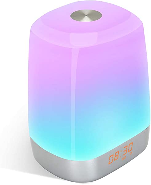 Wake Up Light Alarm Clock Sunrise Simulation Digital LED Clock With 5 Natural Sounds For Heavy Sleepers Touch Control Multicolor Dimmable USB Rechargeable Table Lamps Night Light For Bedroom