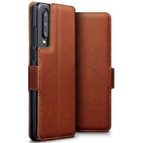 TERRAPIN, Kompatibel mit Huawei P30 Hülle, ECHT Spaltleder Börsen Tasche - Slim Fit - Betrachtungsstand - Kartenschlitze - Cognac