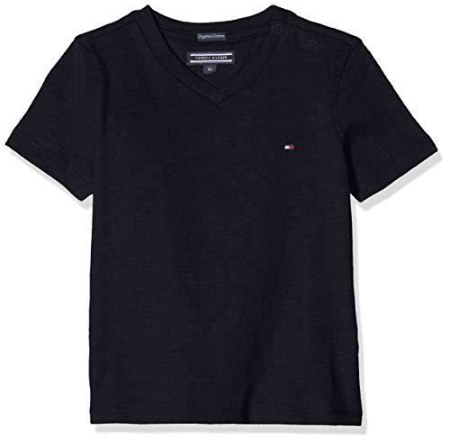 Tommy Hilfiger Jungen Boys Basic Vn Knit S/S Regular Fit T-Shirt, Blau (Sky Captain 420), 164 ( Herstellergröße: 14)