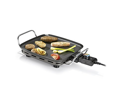 Princess 102210 Mini Table Chef, Plancha Pequeña y Cuadrada, Termostato regulable, Alta potencia, 28 x 28 cm