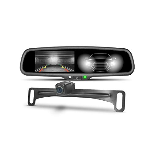 Backup Camera, imirror Rearview Mirror Dual Input Auto-Dimming Monitor Screen with IP68 Waterproof & Super Night Vision Camera
