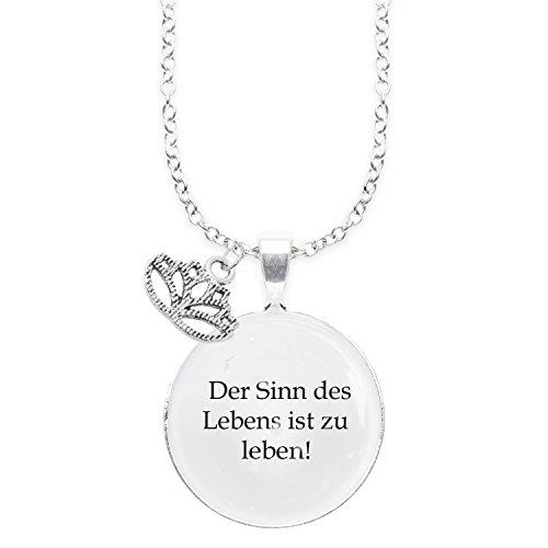 Spruchketten BY LIEBLICHKEITEN Nickelfreie Kette mit Sterlingsilber-Legierung 80 cm mit Anhänger Spruch in 2,5cm Großer Glaslinse und Charm Lotusblüte: der Sinn des Lebens