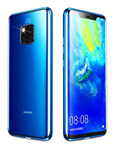 KumWum Huawei Mate 20 Pro Funda Transparente Frente y Posterior de Vidrio Templado Magnética Adsorción 360 Grados Protección de Marco Metálica Parachoques Case para Mate20 Pro (Azul)