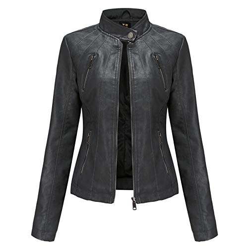 Kunstlederjacke Damen, Vintage Moto Bikerjacke mit Reißverschluss, dünne Frauen PU Lederjacke Punk-Kurzmantel Jacke für Frühling und Herbst Übergangsjacke Women Leather Jacket (4 Farben),Black,3XL