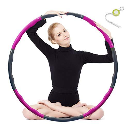 Hula Hoop zur Gewichtsreduktion,Reifen mit Schaumstoff ca 1 kg Gewichten Einstellbar Breit 48–88 cm beschwerter Hula-Hoop-Reifen für Fitness (4 Knoten Grün + Grau) mit Mini Bandmaß (Rosa)